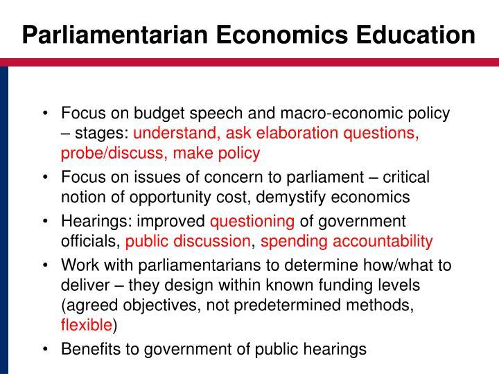 Parliamentarian Economics Education