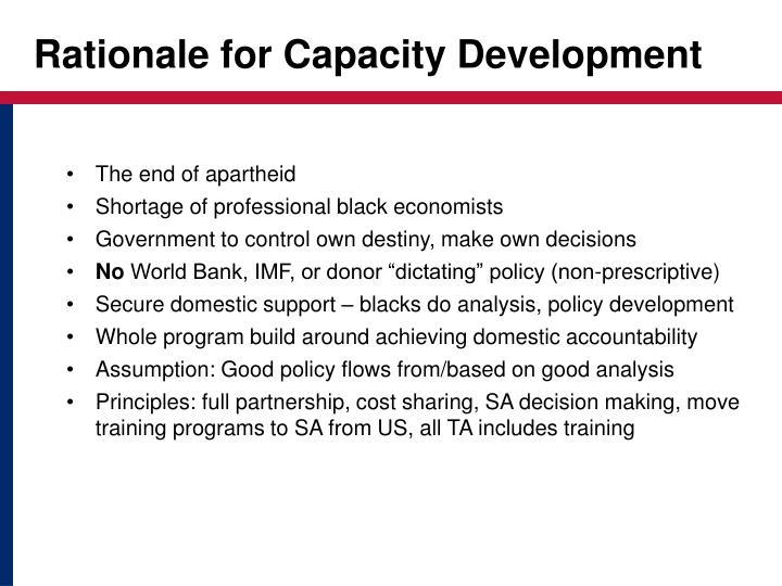 Rationale for capacity development