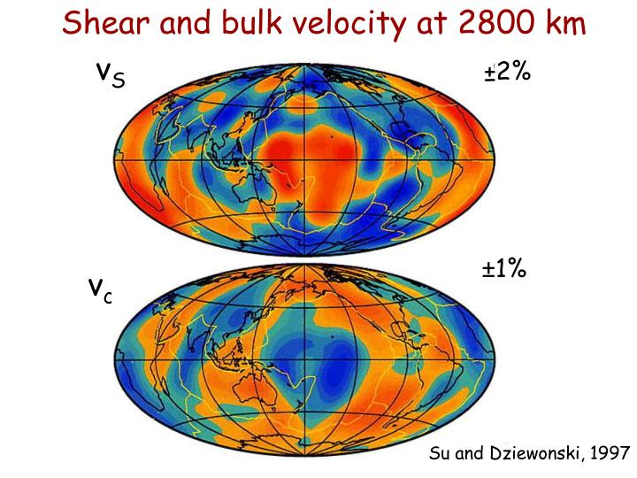 Shear and bulk velocity at 2800 km