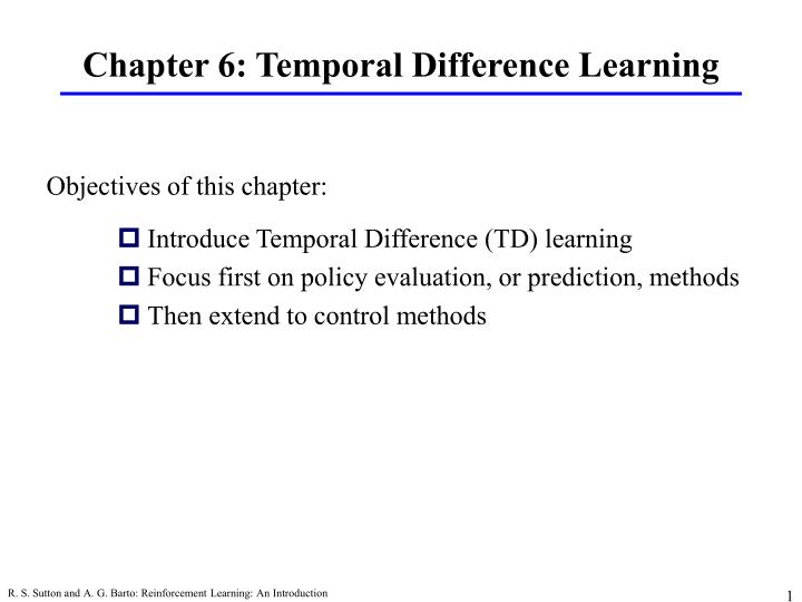 Chapter 6 temporal difference learning
