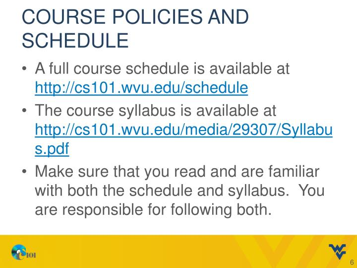 Course Policies and Schedule