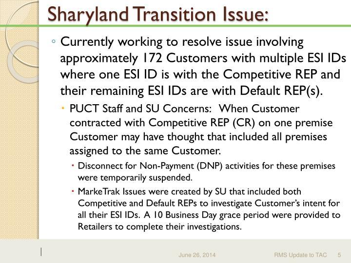 Sharyland Transition Issue:
