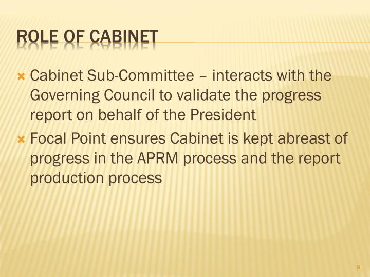 Cabinet Sub-Committee – interacts with the Governing Council to validate the progress report on behalf of the President