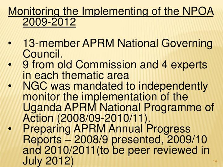 Monitoring the Implementing of the NPOA 2009-2012