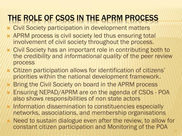 The Role of CSOs in the APRM Process