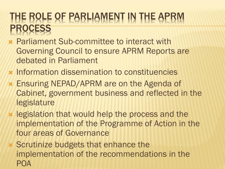 The Role of Parliament in the APRM Process