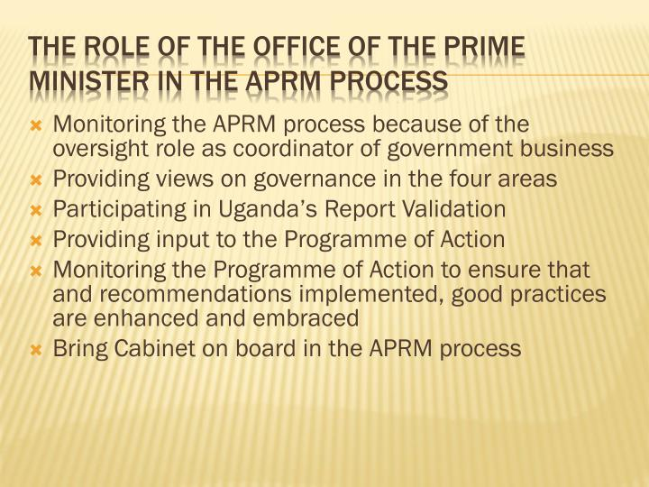The Role of the office of the Prime Minister in the APRM Process