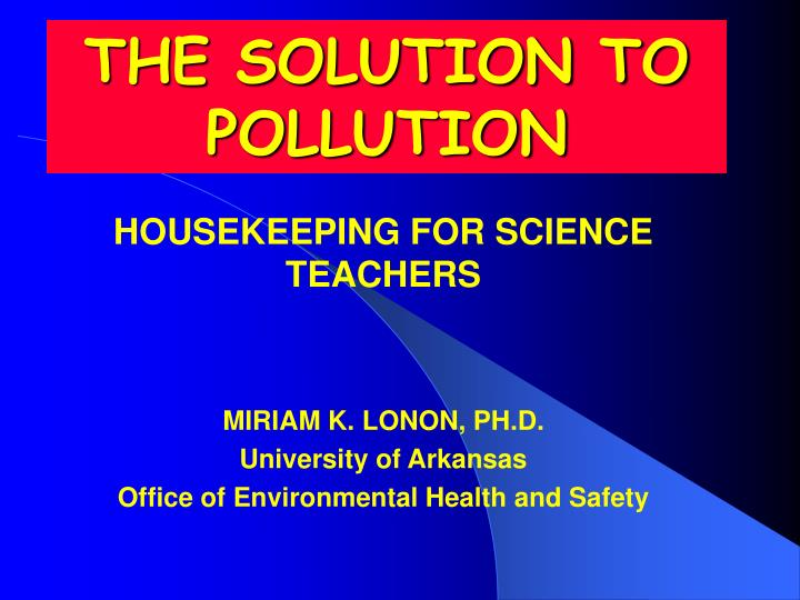the solution to pollution n.