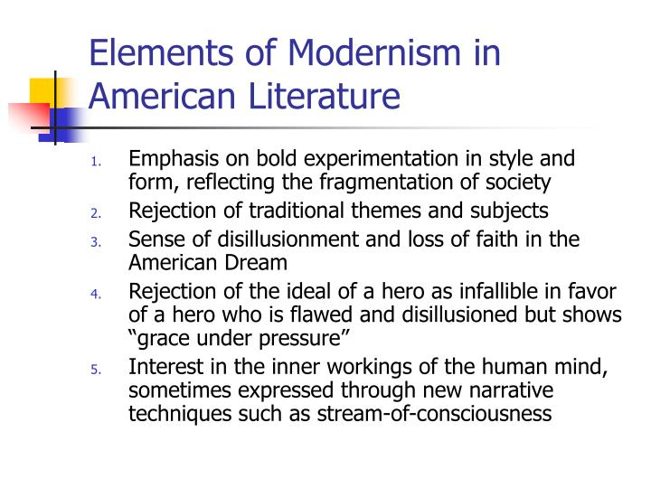 a comparison of the realism and the modernism two movements in american literature Free essay on influence of realism on literature and then make connections between the two literary movements realism not american literature: realism.