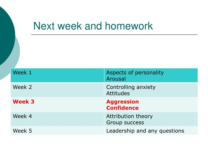 Next week and homework