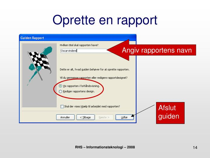 Oprette en rapport