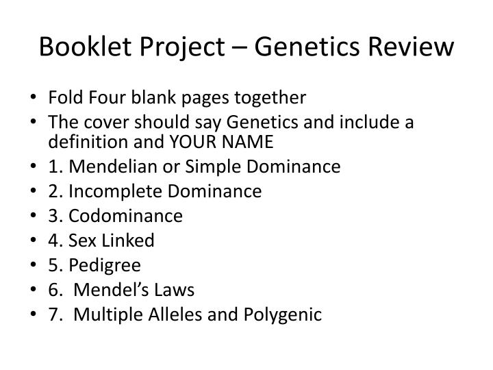 booklet project genetics review