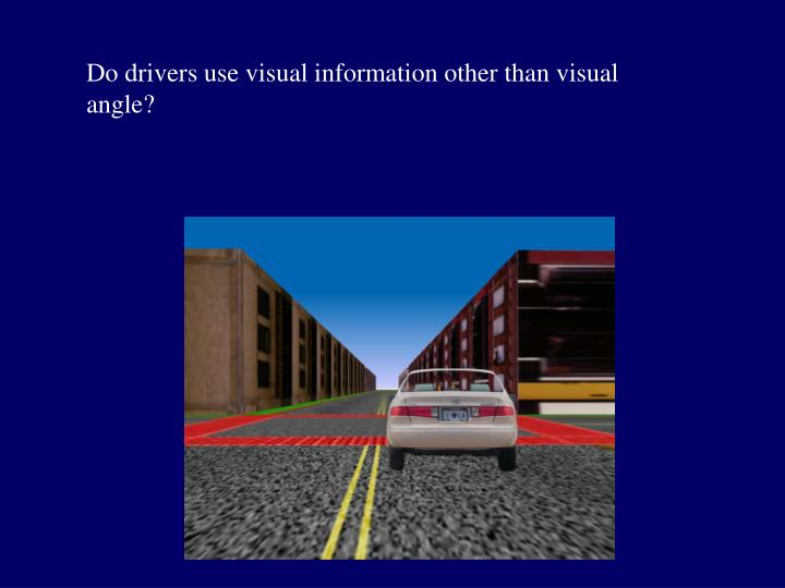 Do drivers use visual information other than visual angle?