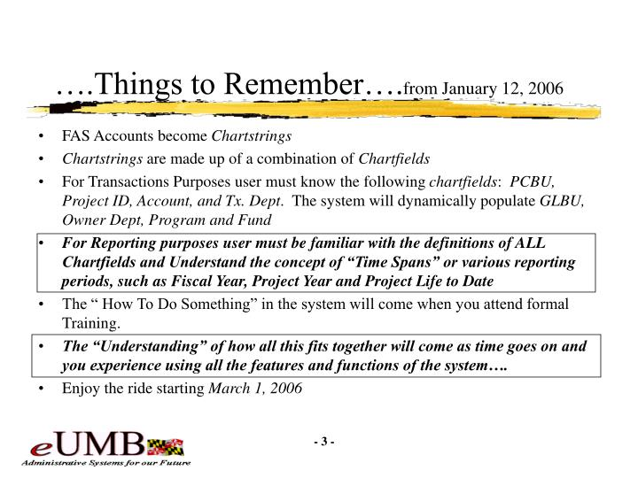Things to remember from january 12 2006