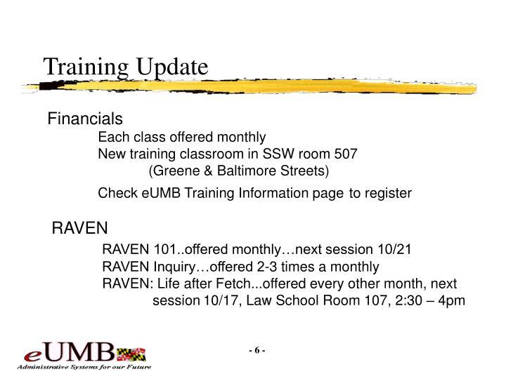 Training Update