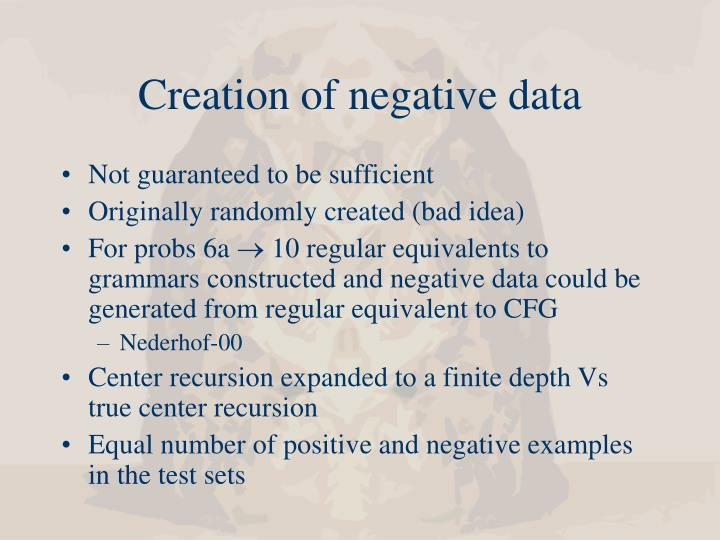 Creation of negative data
