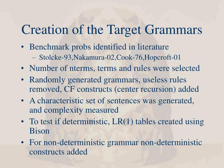 Creation of the Target Grammars