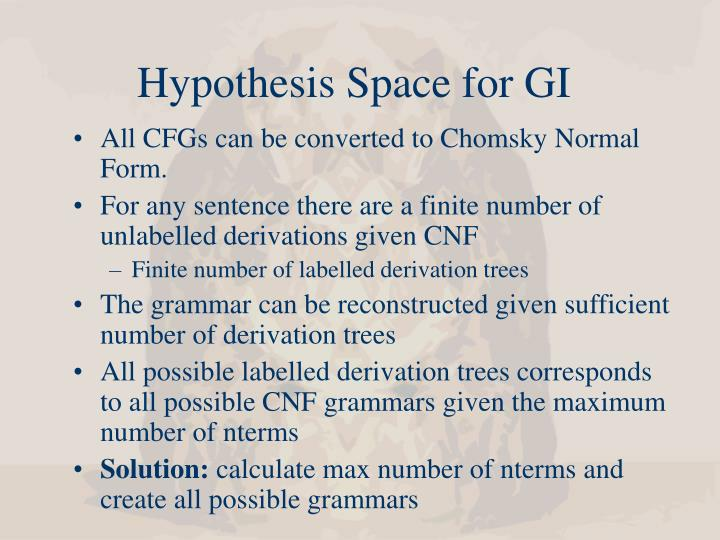 Hypothesis Space for GI