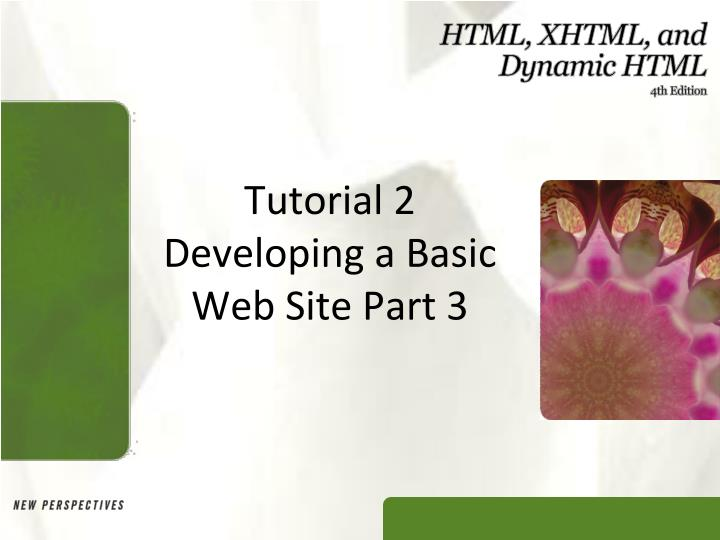 tutorial 2 developing a basic web site part 3 n.