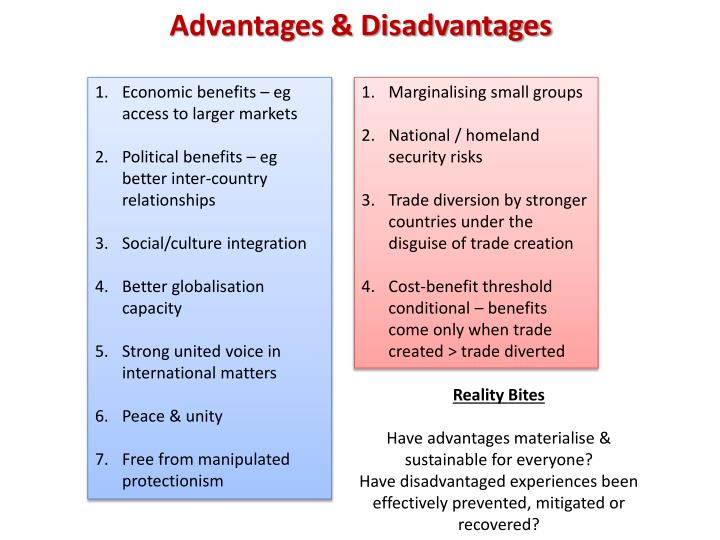 advantages and disadvantages of international economics