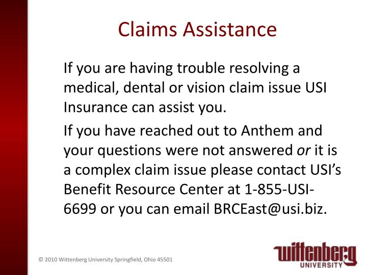 Claims Assistance