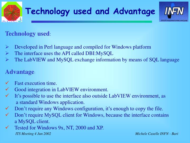 Technology used and Advantage