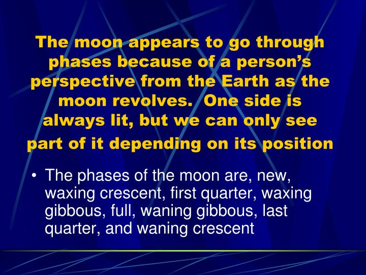 The moon appears to go through phases because of a person's perspective from the Earth as the moon revolves.  One side is always lit, but we can only see part of it depending on its position