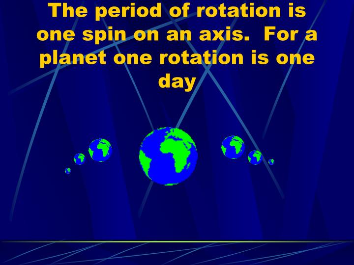 The period of rotation is one spin on an axis.  For a planet one rotation is one day