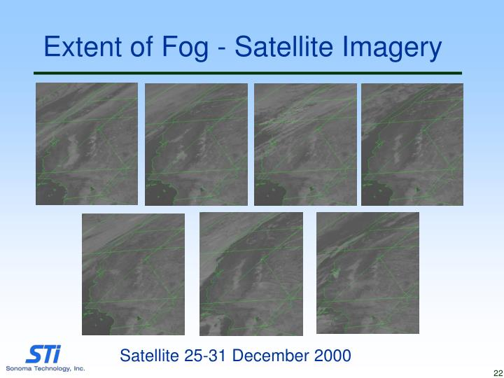 Extent of Fog - Satellite Imagery