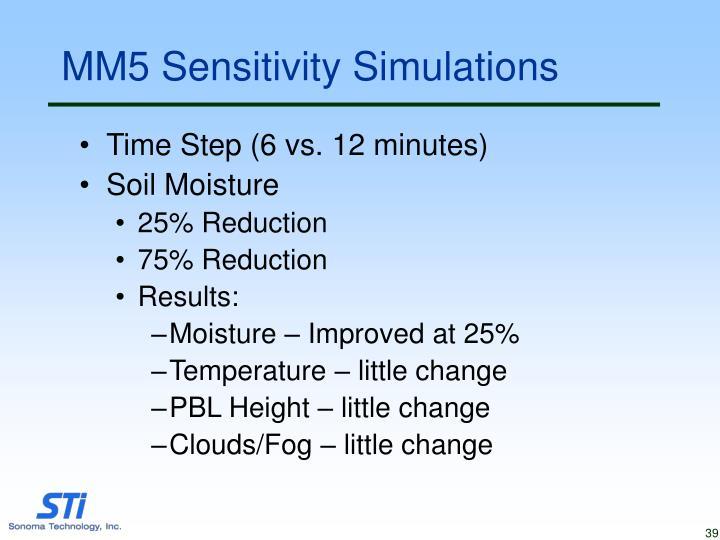 MM5 Sensitivity Simulations