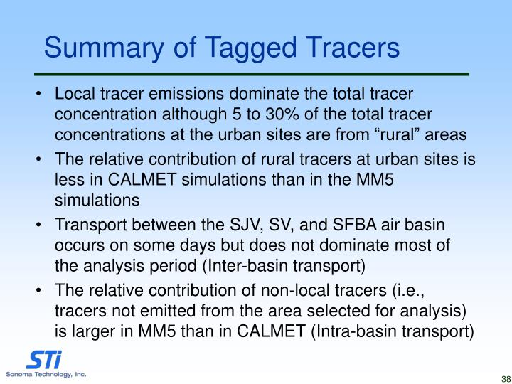 Summary of Tagged Tracers