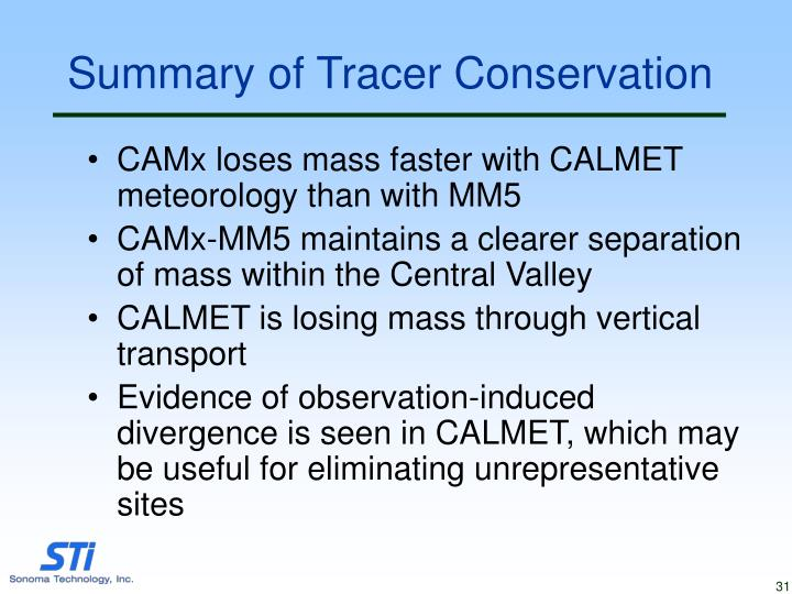 Summary of Tracer Conservation