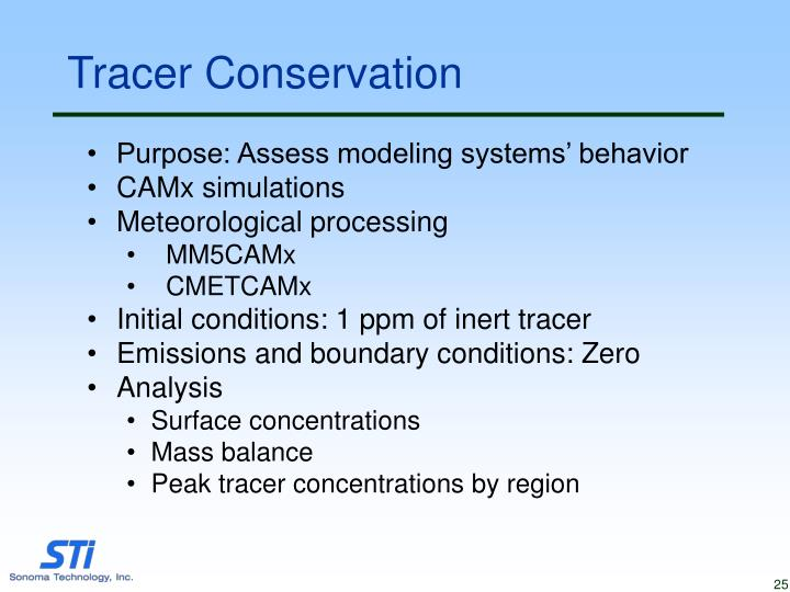 Tracer Conservation
