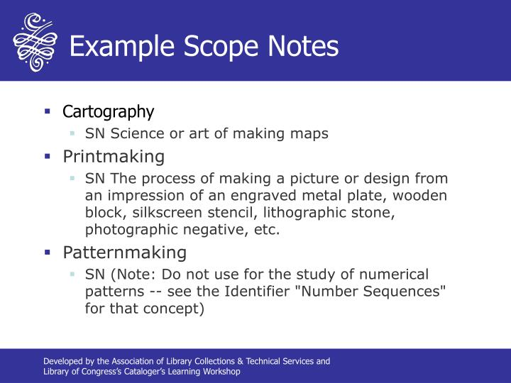 Example Scope Notes