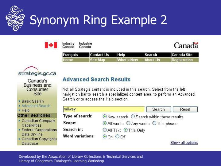 Synonym Ring Example 2