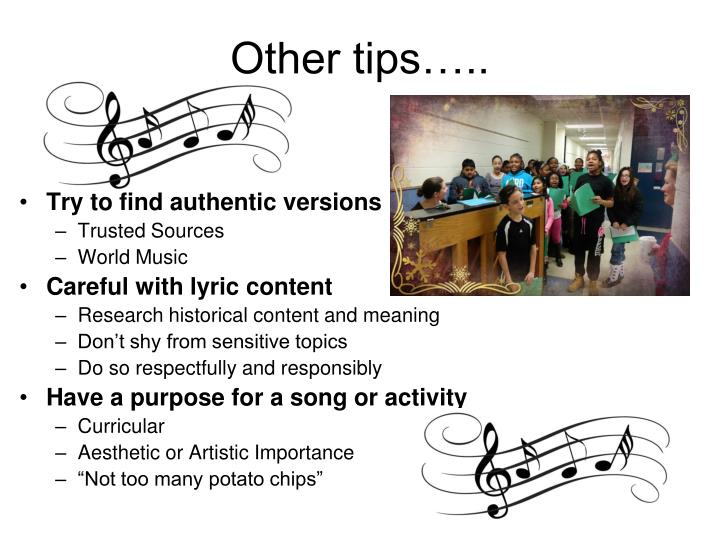 Other tips…..