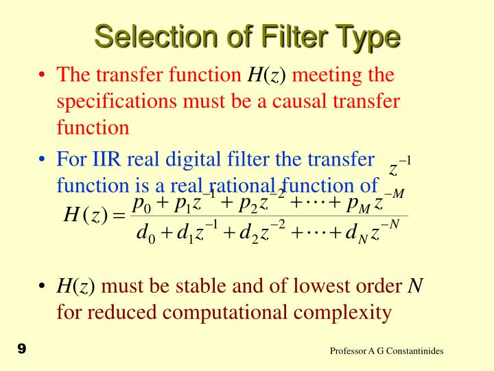 Selection of Filter Type