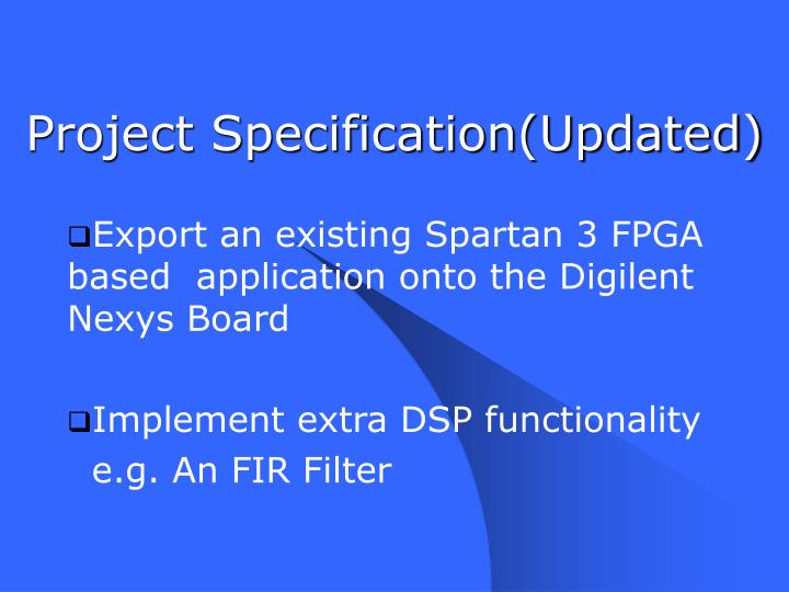Project Specification(Updated)