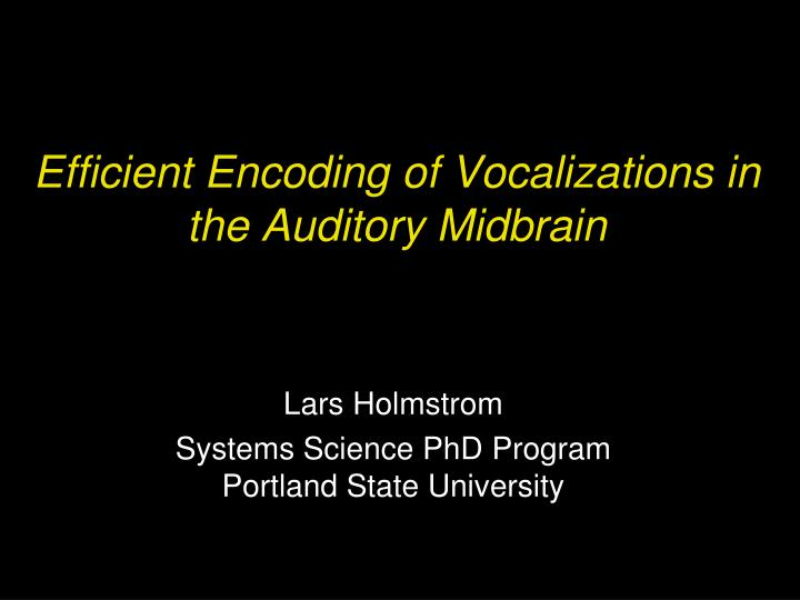 efficient encoding of vocalizations in the auditory midbrain n.