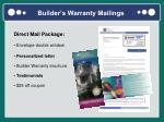 builder s warranty mailings