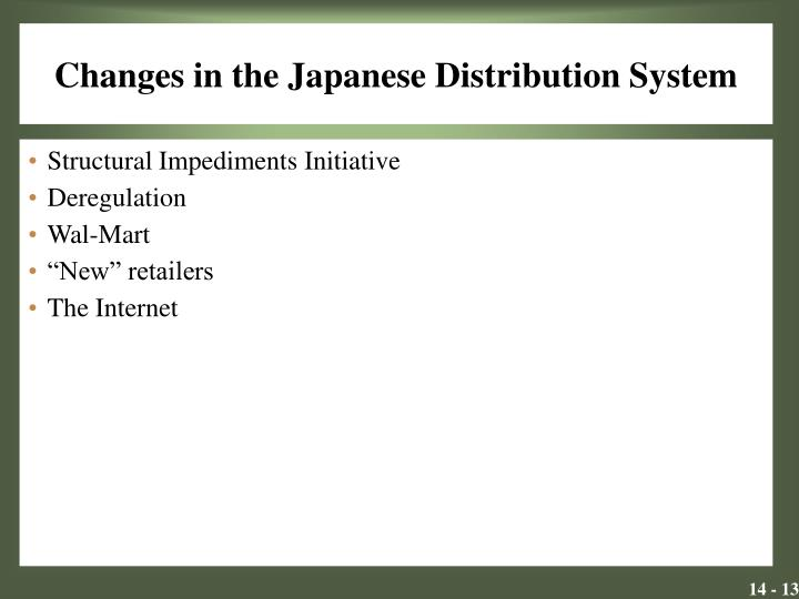 Changes in the Japanese Distribution System