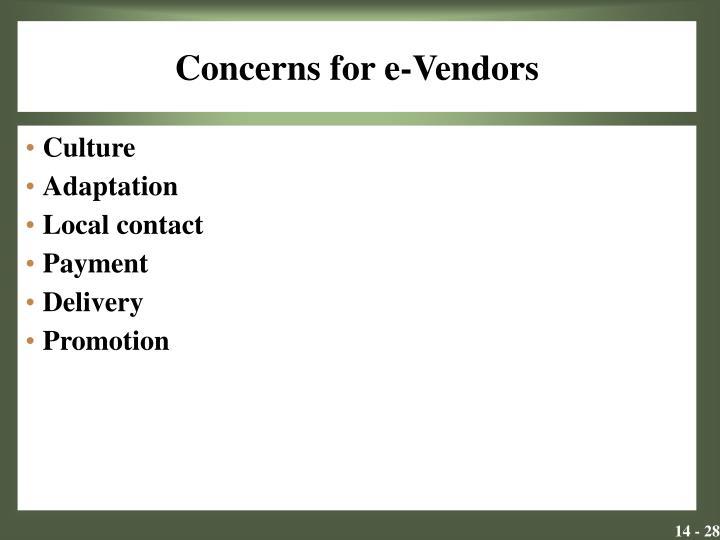 Concerns for e-Vendors