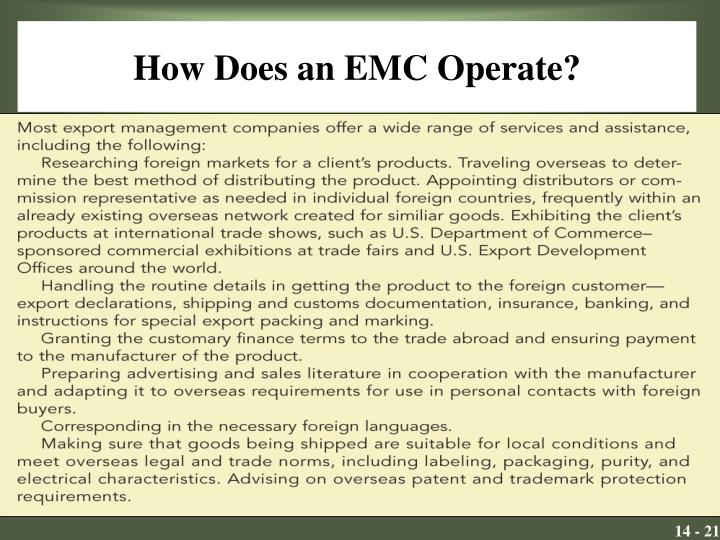 How Does an EMC Operate?