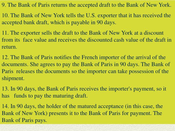 9. The Bank of Paris returns the accepted draft to the Bank of New York.