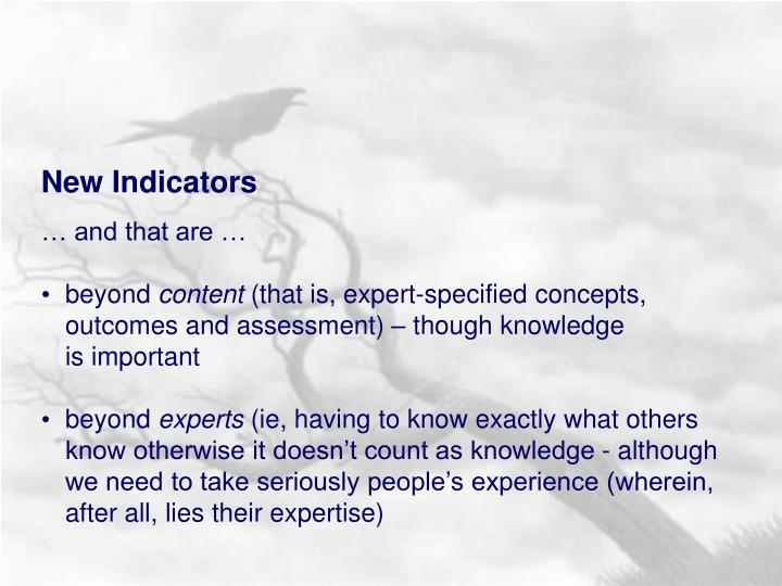 New Indicators