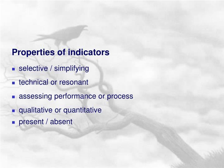 Properties of indicators