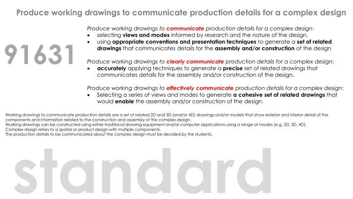 Produce working drawings to communicate production details for a complex design