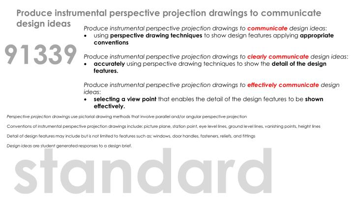 Produce instrumental perspective projection drawings to communicate design ideas