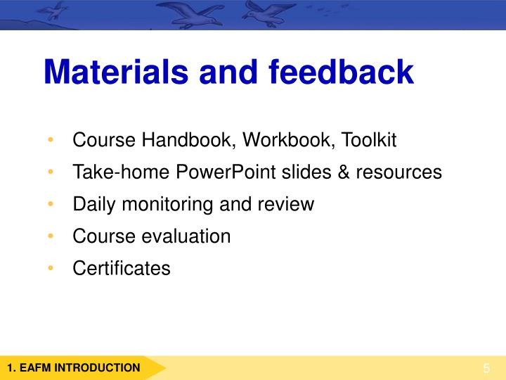 Materials and feedback
