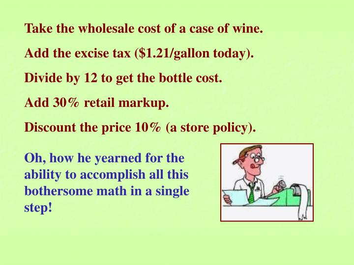 Take the wholesale cost of a case of wine.